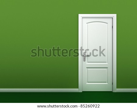 door in the green wall - stock photo