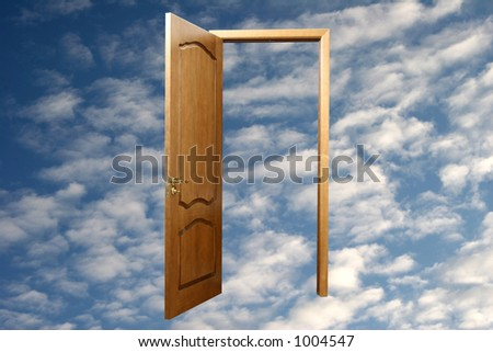 Door in the sky. Blue skies in the background - stock photo