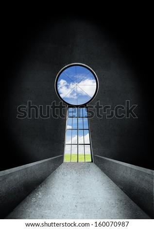 door keyhole to blue sky - stock photo