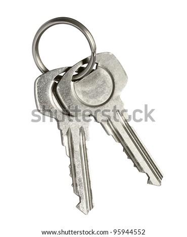 Door keys isolated on white background - stock photo