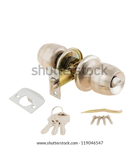 Door Knob assembly with bolts and keys on White Background - stock photo