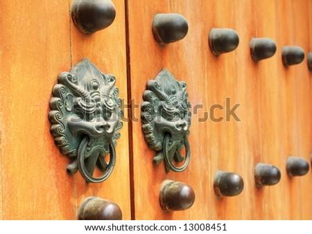 door knob, traditional Chinese - stock photo