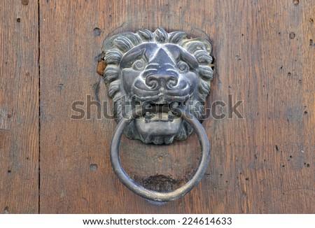 Door knocker Iron Lion on vintage Wooden door - stock photo