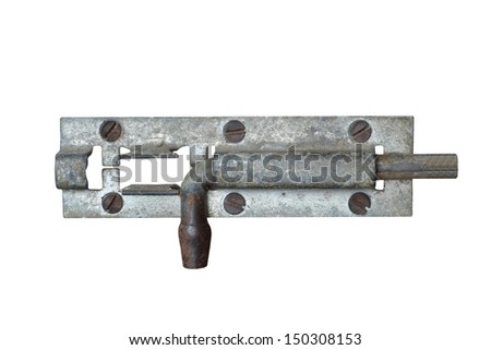 door latch isolated on white background - stock photo