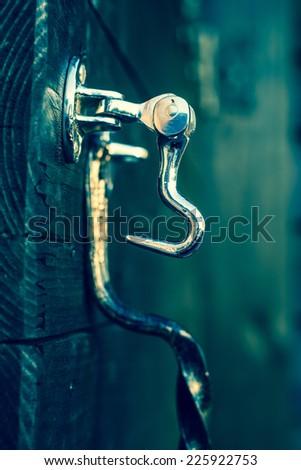 Door latch.  Selective focus.  - stock photo