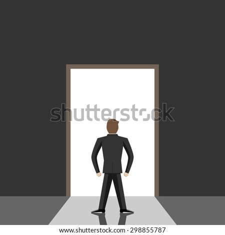 Door leading from dark gray room to bright daylight. Great dreams, opportunity, freedom, hope, faith and decision concept - stock photo