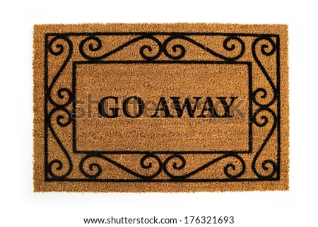 "Door Mat: Mean and Nasty ""Go Away"" Mat - stock photo"