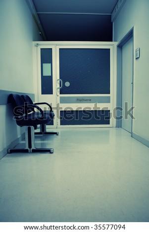 Door of a Psychiatrie, Psychiatry - stock photo