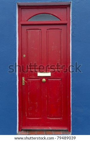 Door of country house at Western Ireland - stock photo