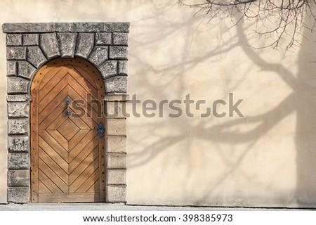 Door on the facade - stock photo