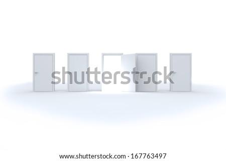 Door opening revealing bright light - stock photo