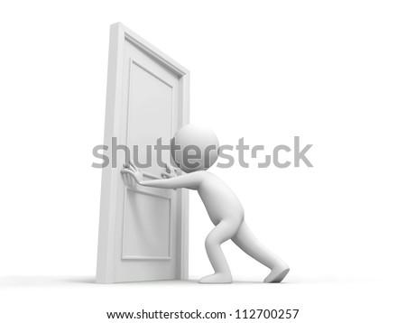 Door/People pushes a door - stock photo