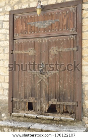 Door Rosh Pina one of the oldest moshavot in Israel  is located on the north eastern slopes of Mt. Canaan overlooking the Hula Valley and the Golan - stock photo