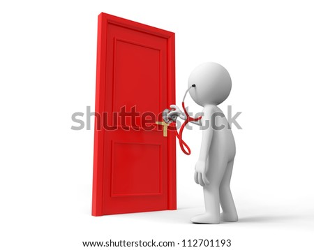 Door/Stethoscope/A person listens to the door with a stethoscope - stock photo
