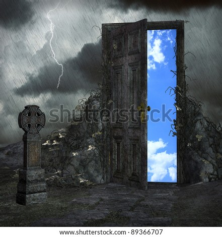Door to a better place - stock photo