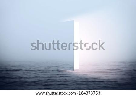 Door to heaven in sea  - stock photo