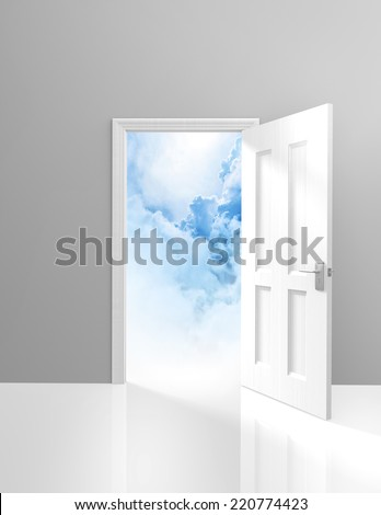 Door to heaven, spirituality and enlightenment concept of an open doorway to dreamy clouds - stock photo