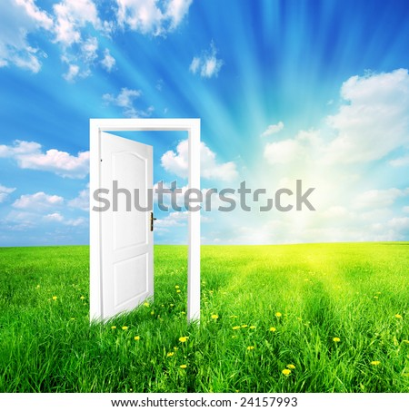 Door to new world. See also different versions of this great concept! - stock photo
