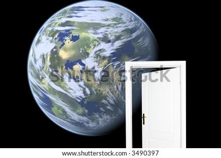 Door to new world. Space version - stock photo