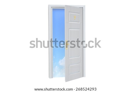 Door to sky isolated on white background - stock photo