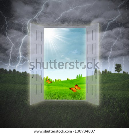 Door to the Summer, abstract environmental backgrounds - stock photo