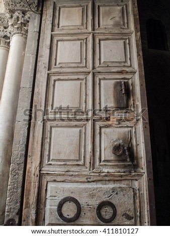 Door to the The Church of the Holy Sepulchre - stock photo
