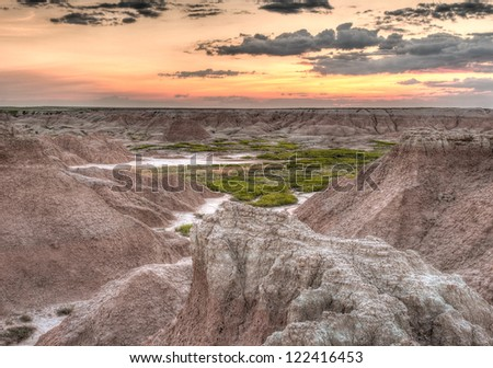 Door Trail Sunrise - Badlands National Park in South Dakota - stock photo