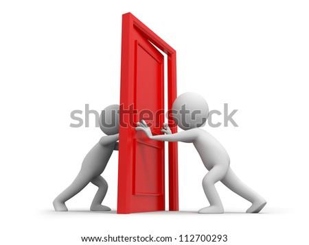 Door/Two people pushes a door - stock photo