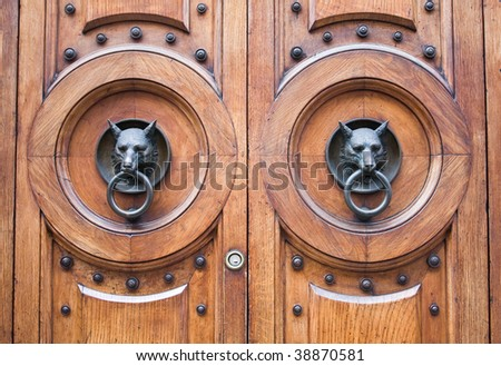Door with a wolf head - stock photo