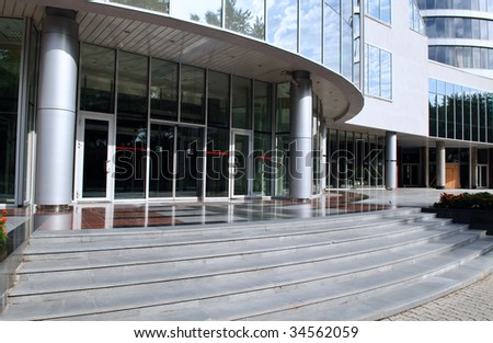 Doors entrance in modern office - stock photo