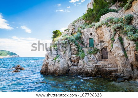 Doors on a cliff in Dubrovnik, Croatia - stock photo