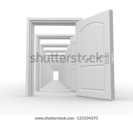 Doors  open. Opportunity. 3d redner - stock photo