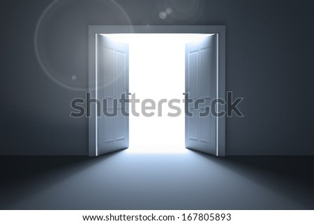 Doors opening revealing light - stock photo