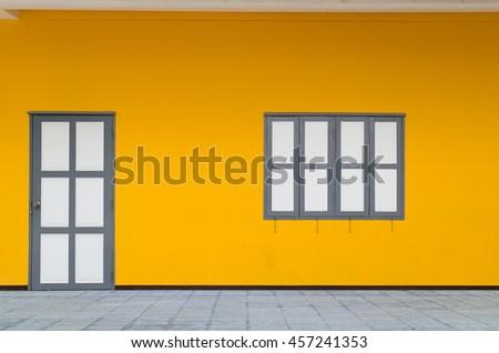 doors, windows White Orange wall  - stock photo