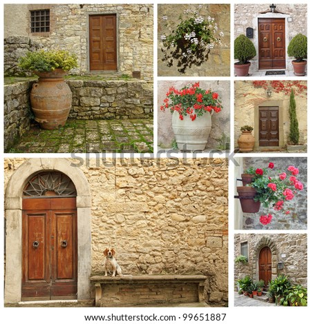doorway collage, images from Tuscany, Italy - stock photo