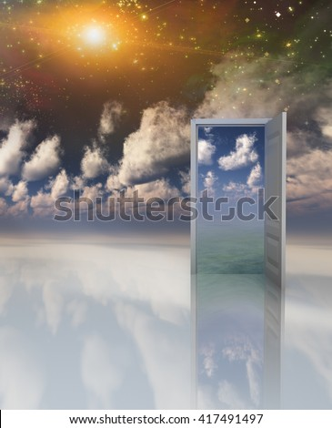 Doorway in serene space opens into other realm 3D Render - stock photo