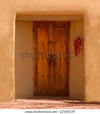 Doorway of a New Mexican house - stock photo