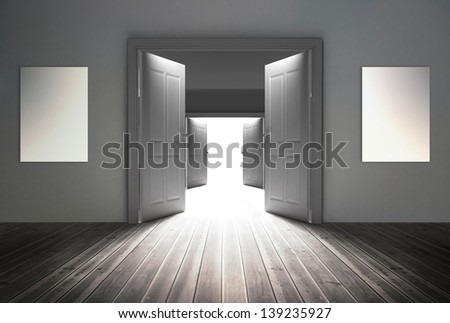 Doorways opening to reveal bright light at the end - stock photo