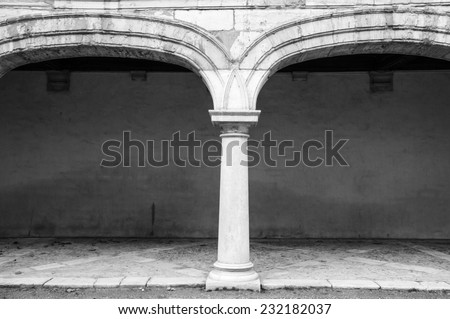 Dorian style column in the time museum, Besancon, Doubs, Franche Comte, France (Black and White) - stock photo