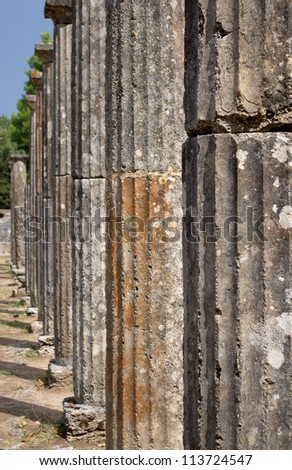 Doric Columns, Ancient site of Olympia, Greece - stock photo
