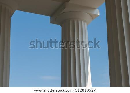 Doric Columns Of Ancient Greek Temple - stock photo