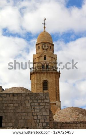 Dormition  Abbey  Bell -Tower on Mount Zion.   Jerusalem. - stock photo