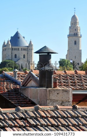 Dormition Abbey Hagia Maria Sion Church in Mt Zion Jerusalem, Israel. - stock photo