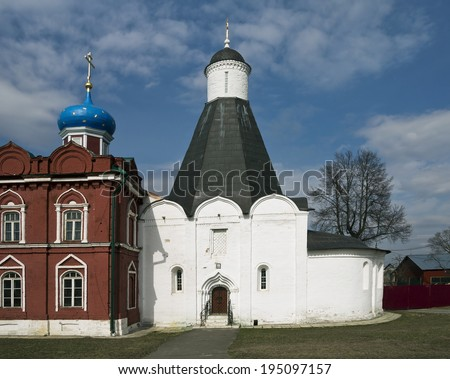 Dormition church of the Uspensky Brusenskiy nunnery of Kolomna Kremlin  - stock photo