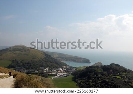 Dorset coastal path above Lulworth Cove - stock photo