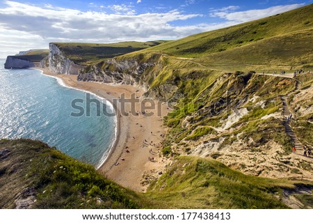 Dorset coastline looking towards Durdle Door, the route of the South-West coastal path, United Kingdom (UK) - stock photo