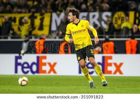 Dortmund, Germany- December 10, 2015: Mats Hummels during the  UEFA Europa League match between PAOK vs Borussia Dortmund played at BVB Stadium - stock photo