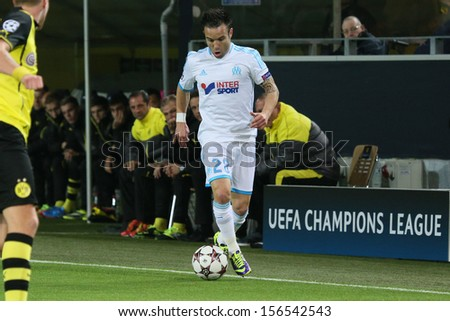 DORTMUND, GERMANY - OCT 1: Mathieu Valbuena (Marseille) during a Champions League match between Borussia Dortmund & Olympique de Marseille, final score 3-0, on October 1, 2013, in Dortmund, Germany. - stock photo