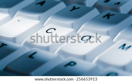 dot com concept image on computer keyboard with lightray - stock photo