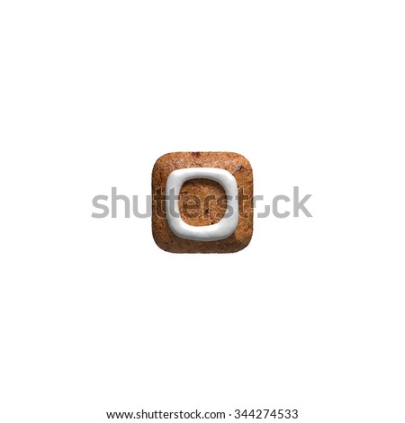 Dot. Gingerbread font. Christmas cookies alphabet. - stock photo
